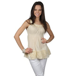 Hailey Jeans Co.Juniors Sleveless Rosette Embellished Pleated Tunic