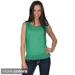 Journee Collection Women's Crinkled Scoop-Neck Sleeveless Polyester Top