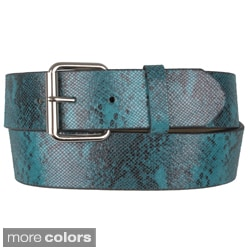Journee Collection Women's Snake Print Genuine Leather Belt