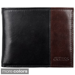 Guess Men's Genuine Leather Two-tone Passcase Billfold Wallet
