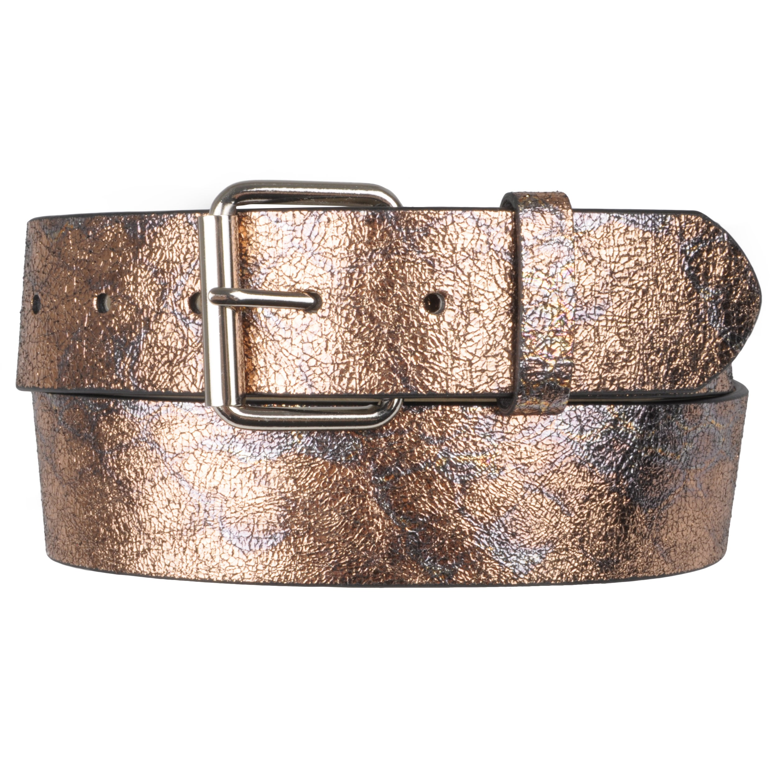Journee Collect Women Cracked Metallic LeatherBelt