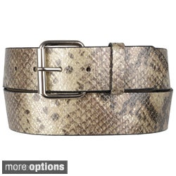 Journee Collection Women's Snake Print Single-Prong Buckle Leather Belt