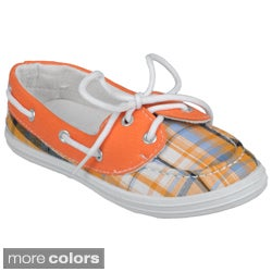 Journee Kids 'Boaty-Pld' Topstitched Plaid Lace-up Shoes
