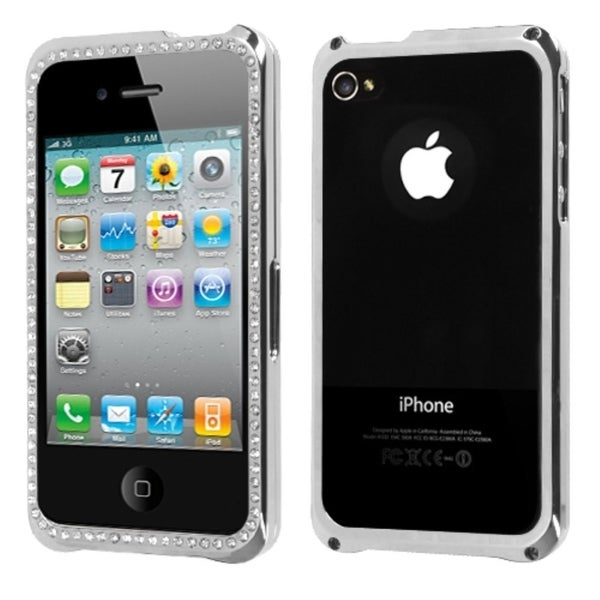 INSTEN Silver/ Chrome Diamond Phone Case Cover for Apple iPhone 4S/ 4