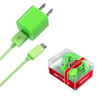 BasAcc Green 2-in-1 Micro USB Travel Charger with USB Port