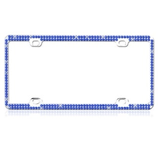 BasAcc Blue Crystals Metal License Plate Frame