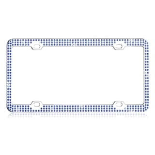BasAcc Blue Triple Row Crystals License Plate Frame
