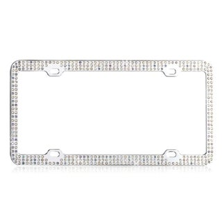 BasAcc Multicolor Triple Row Crystals License Plate Frame