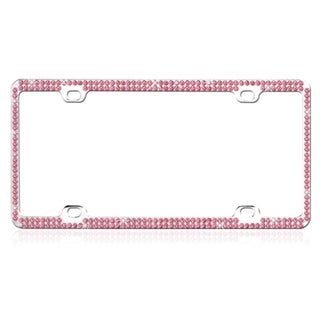 BasAcc Pink Crystals Metal License Plate Frame