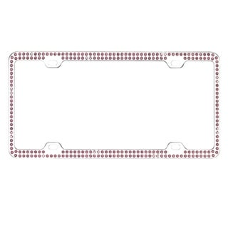 BasAcc Purple Crystals Metal License Plate Frame
