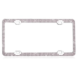BasAcc Purple Triple Row Crystals License Plate Frame