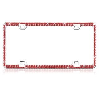 BasAcc Red Crystals Metal License Plate Frame