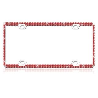 BasAcc Red Crystals Metal License Plate Frame