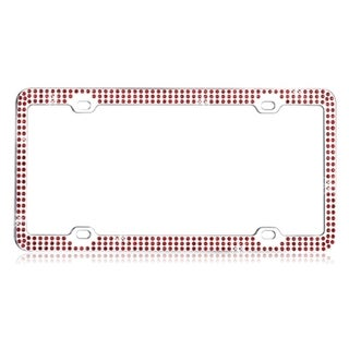 BasAcc Red Triple Row Crystals License Plate Frame