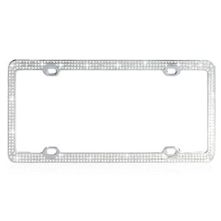 BasAcc White Crystals License Plate Frame
