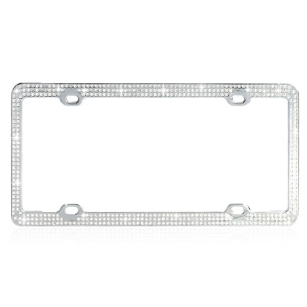 INSTEN White Crystals License Plate Frame