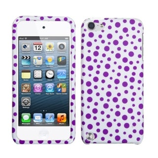 Insten Purple/ White Polka Dots Hard Snap-on Glossy Case Cover For Apple iPod Touch 5th/ 6th Gen