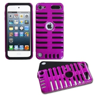 Insten Purple/ Black Microphone Fusion Hard PC/ Silicone Dual Layer Hybrid Glossy Case Cover For Apple iPod Touch 5th/ 6th Gen