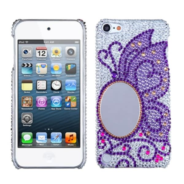 INSTEN Apple iPod Touch 5th Gen Purple Silver Butterfly Diamante Beads iPod Case Cover