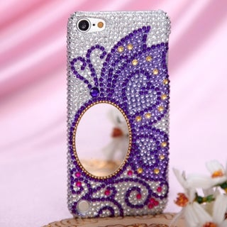 BasAcc Apple iPod Touch 5th Gen Purple Silver Butterfly Diamante Beads Case Cover