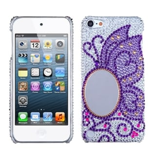 Insten Purple/ Silver Butterfly Hard Snap-on Diamond Bling Case Cover with Mirror For Apple iPod Touch 5th/ 6th Gen