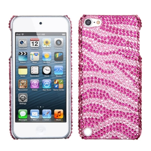 INSTEN Pink Zebra Diamante iPod Case Cover for Apple iPod Touch 5th Generation