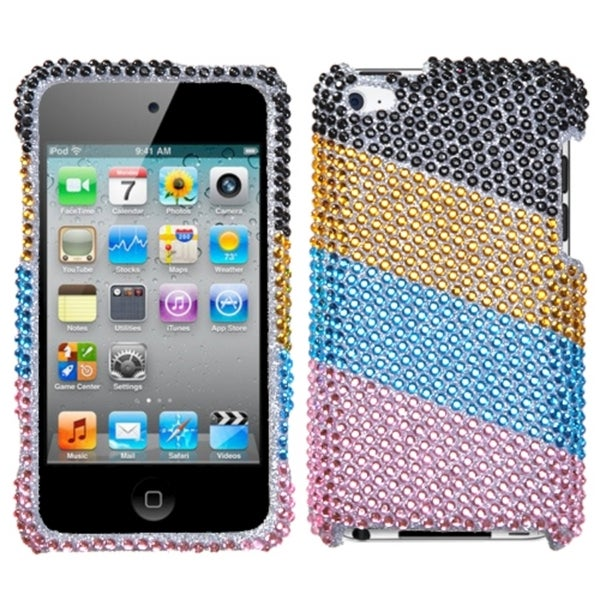 INSTEN Blue/ Pink Stripes iPod Case Cover for Apple iPod Touch 4th Generation