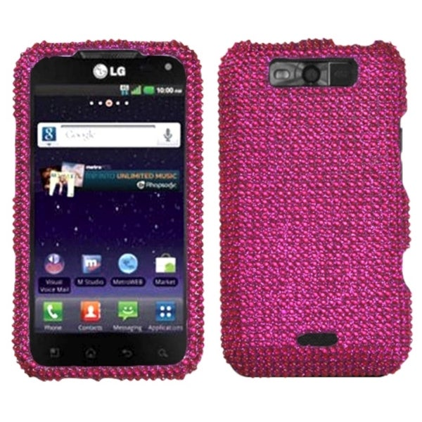 INSTEN Hot Pink Diamante Phone Case Cover for LG MS840 Connect 4G/ LS840 Viper