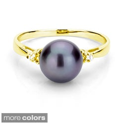 DaVonna 24k Gold over Silver Pearl and 1/10ct TDW Diamond Ring (L-M, I1-I2)