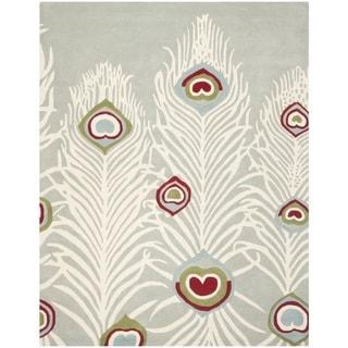 Safavieh Handmade Soho Grey/ Ivory Wool Rug (7'6 x 9'6)
