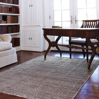 Hand-knotted Franklin Stone Wool Rug (5'0 x 7'6)