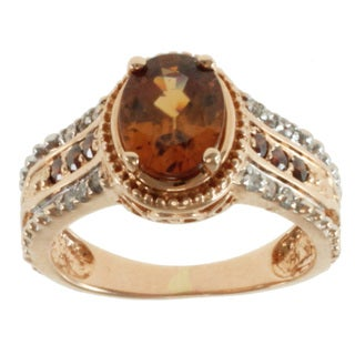 Michael Valitutti 14k Rose Gold Cognac Zircon and Diamond Ring
