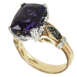 Michael Valitutti 14k Two-tone Gold Amethyst and Diamond Ring
