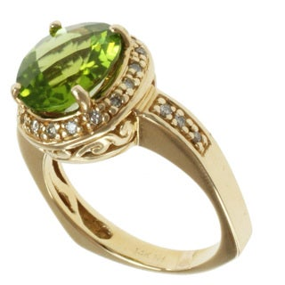 Michael Valitutti 14k Yellow Gold Peridot and Diamond Ring
