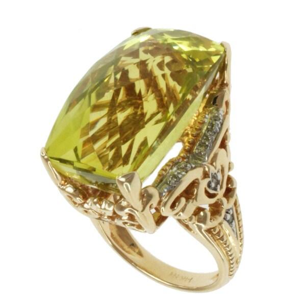 Michael Valitutti 14k Yellow Gold Oro Verde and Diamond Ring