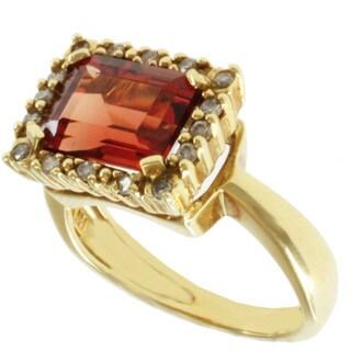 Michael Valitutti 18k Yellow Gold Round Ruby Sunstone and Diamond Ring