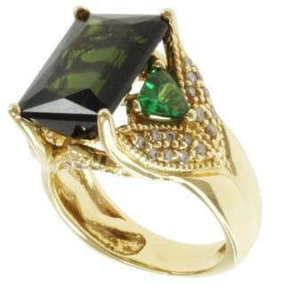 Michael Valitutti 18k Yellow Gold Bahia Green Tourmaline, Tsavorite and Diamond Ring
