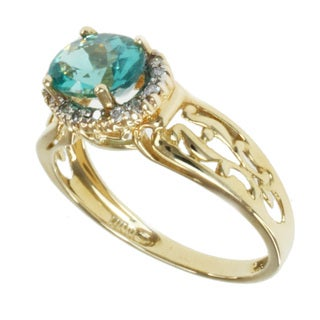 Michael Valitutti 14k Yellow Gold Apatite and Diamond Ring