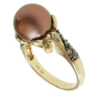 Michael Valitutti 14k Yellow Gold Tahitian Chocolate Pearl and Diamond Ring (10-10.5 mm)