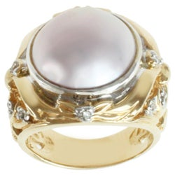 Michael Valitutti 14k Two-tone Gold Pink Mabe Pearl and Diamond Ring (13-14 mm)