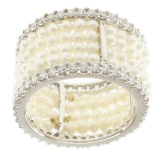Michael Valitutti Sterling Silver Pearl and Cubic Zirconia Ring (2-2.5 mm)