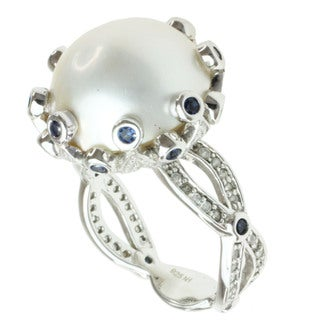 Michael Valitutti Sterling Silver Mabe Pearl and Cubic Zirconia Ring (14 mm)