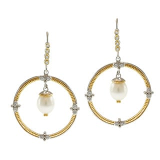 Michael Valitutti Two-tone Freshwater Pearl and Cubic Zirconia Earrings (8-10 mm)