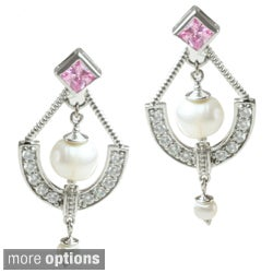 Michael Valitutti Sterling Silver Freshwater Pearl and Cubic Zirconia Earrings (4-6.5 mm)