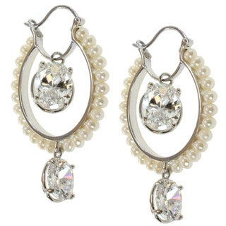 Michael Valitutti Sterling Silver Freshwater Pearl and Cubic Zirconia Earrings (3.5 mm)