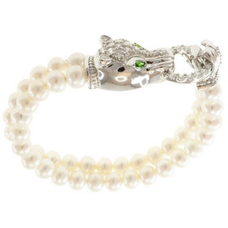 Michael Valitutti Sterling Silver Freshwater Pearl, Chrome Diopside and Cubic Zirconia Bracelet (7 mm)