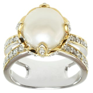 Michael Valitutti Two-tone Freshwater Pearl and Cubic Zirconia Ring (10 mm)