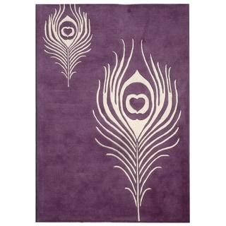 Safavieh Handmade Soho Purple/ Ivory Wool Rug (5' x 8')