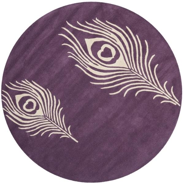 Safavieh Handmade Soho Purple/ Ivory Wool Rug (4' Round)