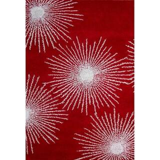 Safavieh Handmade Soho Burst Red/ Ivory Wool Rug (7'6 x 9'6)